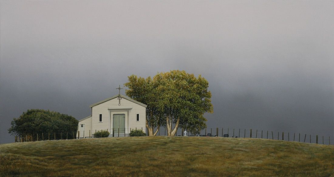 Picture Lindsey Baker artist painting of Te Mata Church
